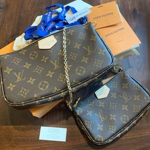 Authentic LV large & small pochette w/gold chain